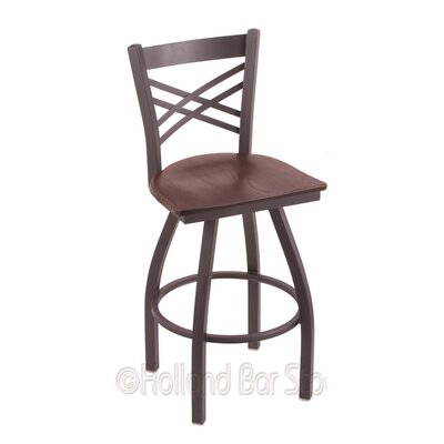 Catalina 30 Swivel Bar Stool Upholstery: Dark Cherry Oak, Base Finish: Pewter