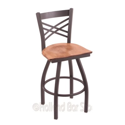 Catalina 25 Swivel Bar Stool Base Finish: Pewter, Upholstery: Medium Maple