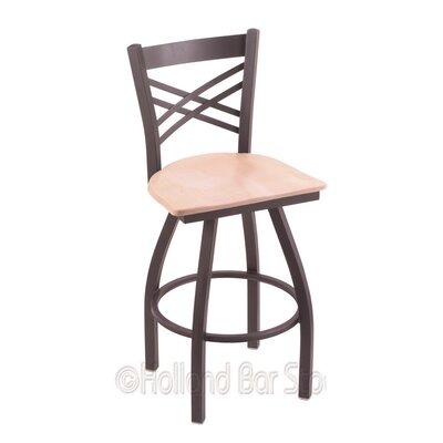 Catalina 25 Swivel Bar Stool Base Finish: Pewter, Upholstery: Natural Maple