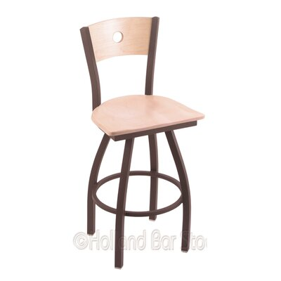 Voltaire 30 Swivel Bar Stool Base Finish: Bronze, Upholstery: Natural Maple