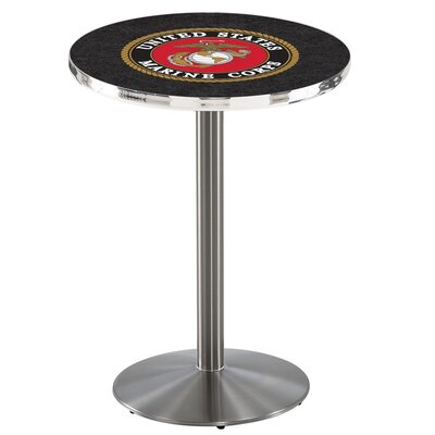 Military 36 inch Pub Table Team: United States Marine Corps, Finish: Stainless Steel
