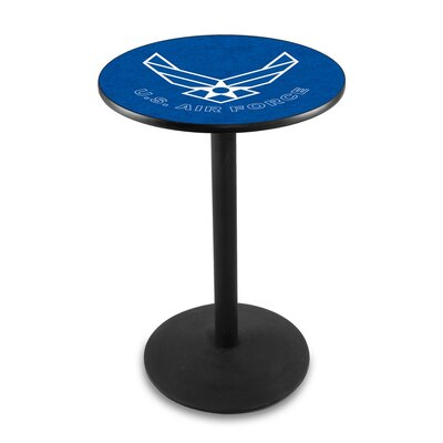 Military 36 Pub Table Team: United States Air Force, Color: Black Wrinkle