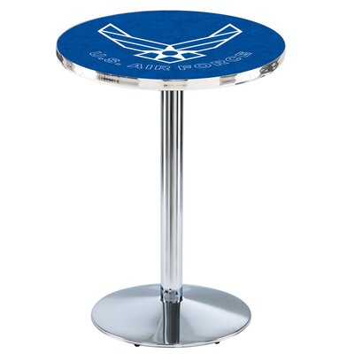 Military 36 Pub Table Team: United States Air Force, Color: Chrome