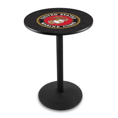 Military 42 inch Pub Table Team: United States Marine Corps, Finish: Black Wrinkle