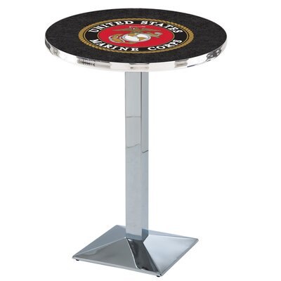 Military Pub Table Team: United States Marine Corps, Finish: Chrome