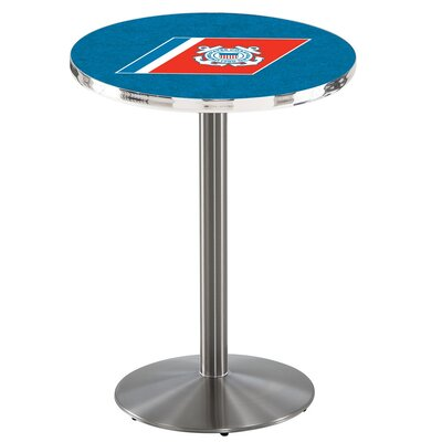 Military 36 Pub Table Team: United States Coast Guard, Color: Stainless Steel
