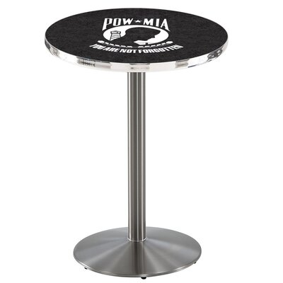 Military 42 Pub Table Team: POW-MIA, Color: Stainless Steel