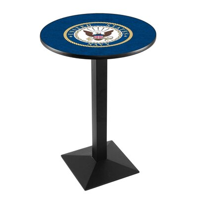 Military Pub Table Team: United States Navy, Finish: Black Wrinkle