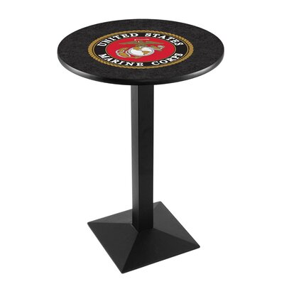 Military Pub Table Team: United States Marine Corps, Color: Black Wrinkle