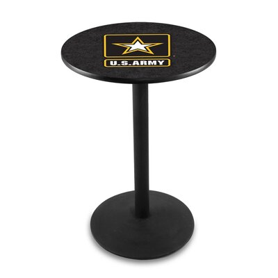 Military 42 Pub Table Team: United States Army, Finish: Black Wrinkle