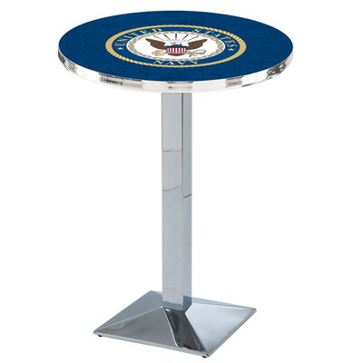 Military Pub Table Team: United States Navy, Color: Chrome