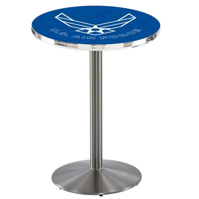 Military 42 Pub Table Team: United States Air Force, Finish: Stainless Steel