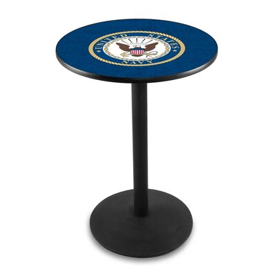 Military 36 Pub Table Team: United States Navy, Finish: Black Wrinkle