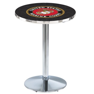 Military 42 Pub Table Team: United States Marine Corps, Finish: Chrome