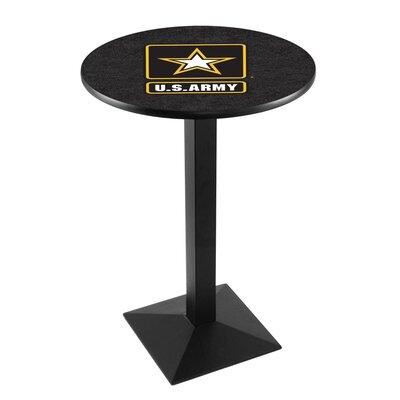 Military Pub Table Team: United States Army, Color: Black Wrinkle