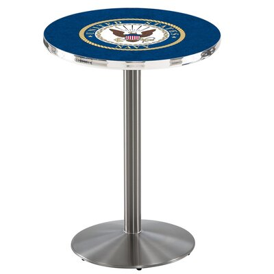 Military 42 Pub Table Team: United States Navy, Color: Stainless Steel