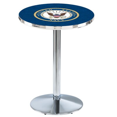 Military 36 Pub Table Team: United States Navy, Color: Chrome