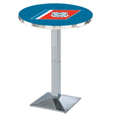 Military Pub Table Finish: Chrome, Team: United States Coast Guard