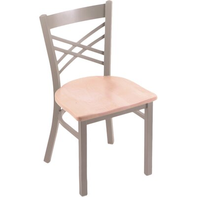Catalina Solid Wood Dining Chair Base Finish: Anodized Nickel, Upholstery: Natural Oak