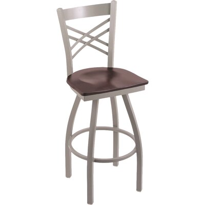 "Image of Catalina 25"" Swivel Bar Stool Upholstery: Dark Cherry Maple, Base Finish: Pewter"