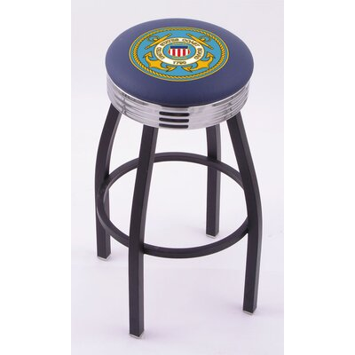 "Holland Bar Stool US Military Single Ring swv Barstool w/ Black Base & Solid Weld Chrome Base -Size:30"" Height, Team:United States Coast Guard at Sears.com"