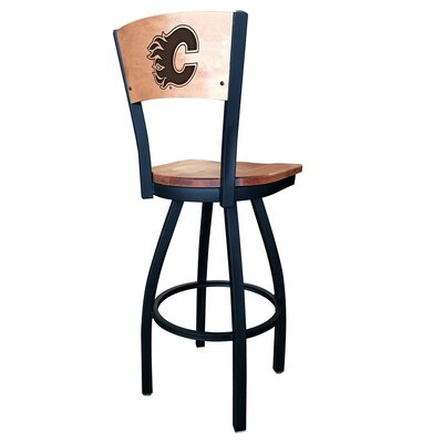 NHL Swivel Bar Stool NHL Team: Calgary Flames, Upholstery: Medium Maple