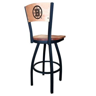 NHL Swivel Bar Stool NHL Team: Boston Bruins, Upholstery: Medium Maple