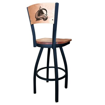 NHL Swivel Bar Stool Upholstery: Medium Maple, NHL Team: Colorado Avalanche