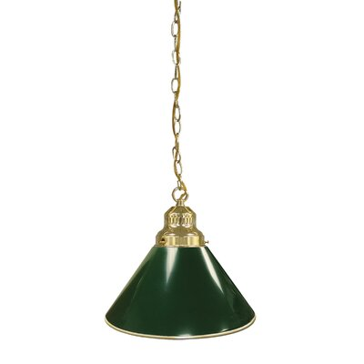 1-Light Mini Pendant Finish: Brass, Shade Color: Green
