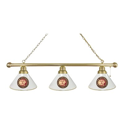 Indian Motorcycle 3-Light Pool Table Light Finish: Brass, Shade Color: White