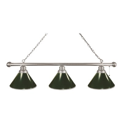 3-Light Kitchen Island Pendant Finish: Chrome, Shade Color: Green