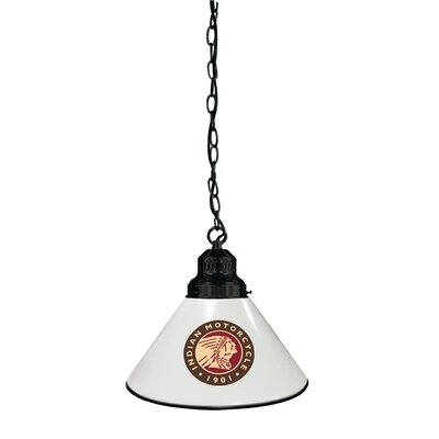 Indian Motorcycle 1-Light Mini Pendant Finish: Black, Shade Color: White