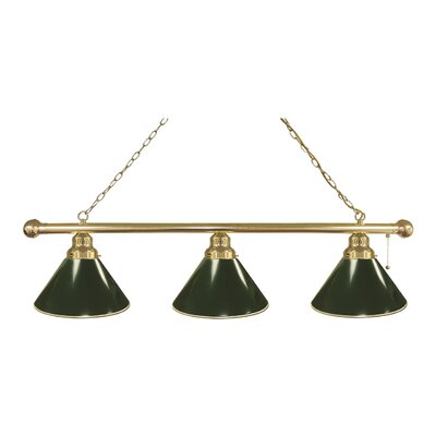 3-Light Kitchen Island Pendant Finish: Brass, Shade Color: Green