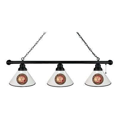 Indian Motorcycle 3-Light Kitchen Island Pendant Finish: Black, Shade Color: White