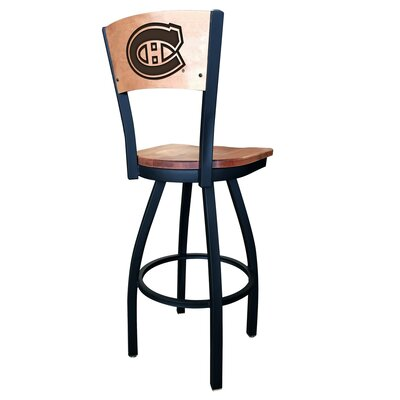 NHL Swivel Bar Stool Upholstery: Medium Maple, NHL Team: Montreal Canadiens