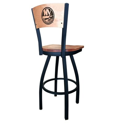 NHL Swivel Bar Stool Upholstery: Medium Maple, NHL Team: New York Islanders