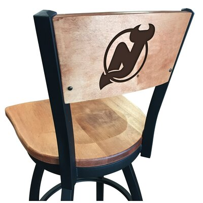 NHL Swivel Bar Stool NHL Team: New Jersey Devils, Upholstery: Medium Maple