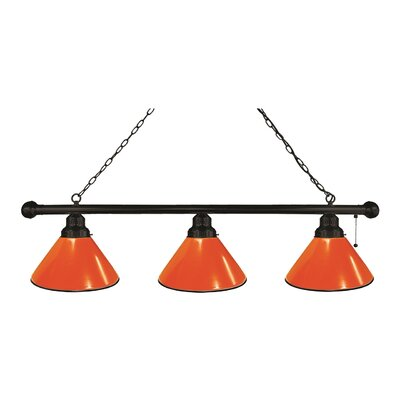3-Light Kitchen Island Pendant Finish: Black, Shade Color: Orange