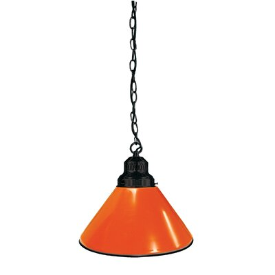 1-Light Mini Pendant Finish: Black, Shade Color: Orange