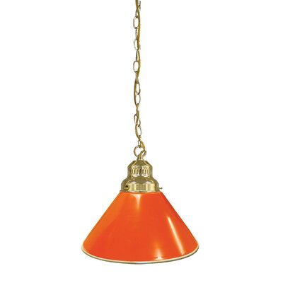 1-Light Mini Pendant Finish: Brass, Shade Color: Orange