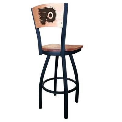 NHL Swivel Bar Stool NHL Team: Philadelphia Flyers, Upholstery: Medium Maple