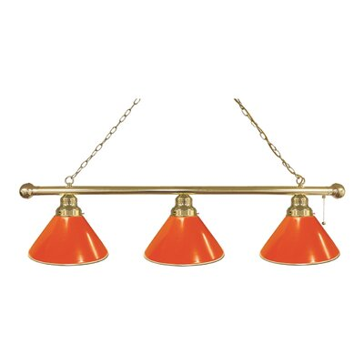 3-Light Kitchen Island Pendant Finish: Brass, Shade Color: Orange