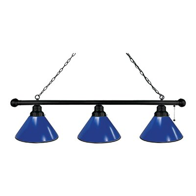 3-Light Kitchen Island Pendant Finish: Black, Shade Color: Royal Blue