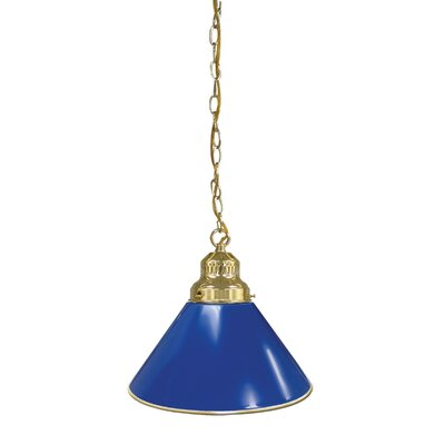 1-Light Mini Pendant Finish: Brass, Shade Color: Royal Blue