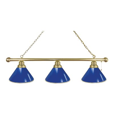 3-Light Pool Table Light Finish: Brass, Shade Color: Royal Blue