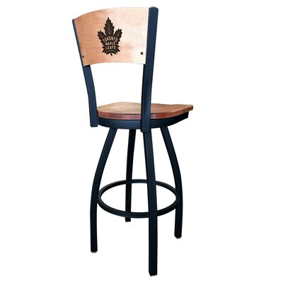 NHL Swivel Bar Stool NHL Team: Toronto Maple Leafs, Upholstery: Medium Maple
