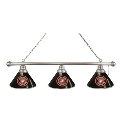 U.S. Armed Forces 3-Light Kitchen Island Pendant Finish: Chrome, Shade Color: Black, Branch: U.S. Navy