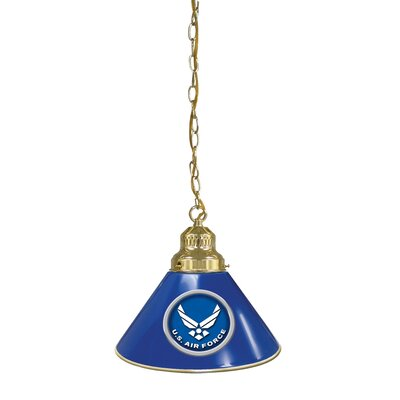 U.S. Armed Forces 1-Light Mini Pendant Finish: Brass, Shade Color: White, Branch: U.S. Coast Guard