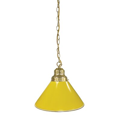 1-Light Mini Pendant Finish: Brass, Shade Color: Yellow