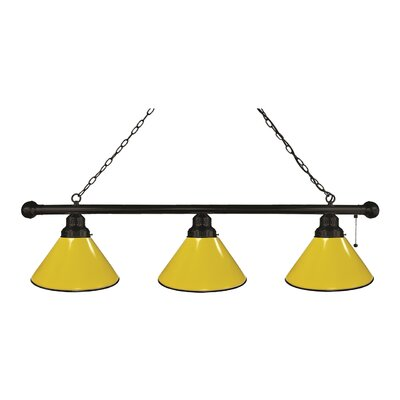3-Light Kitchen Island Pendant Finish: Black, Shade Color: Yellow